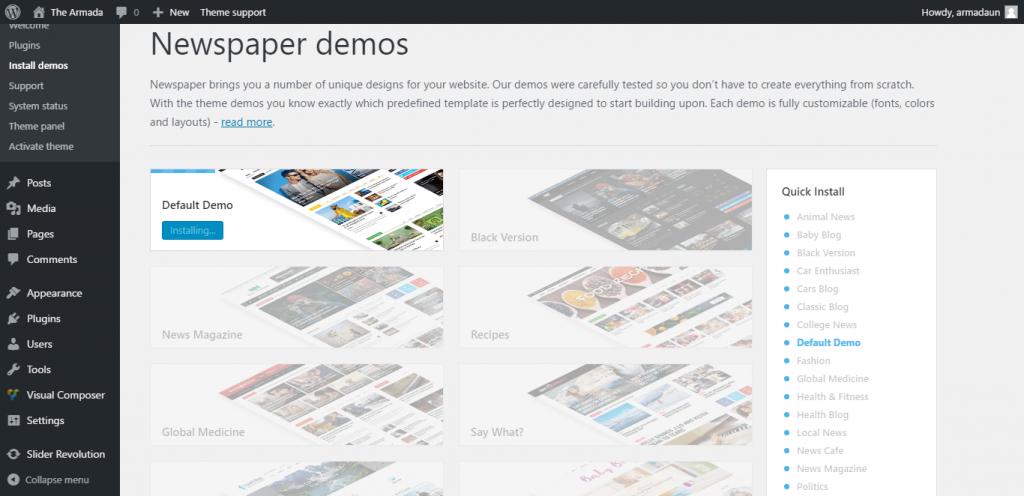 newspaper-theme-demo-install